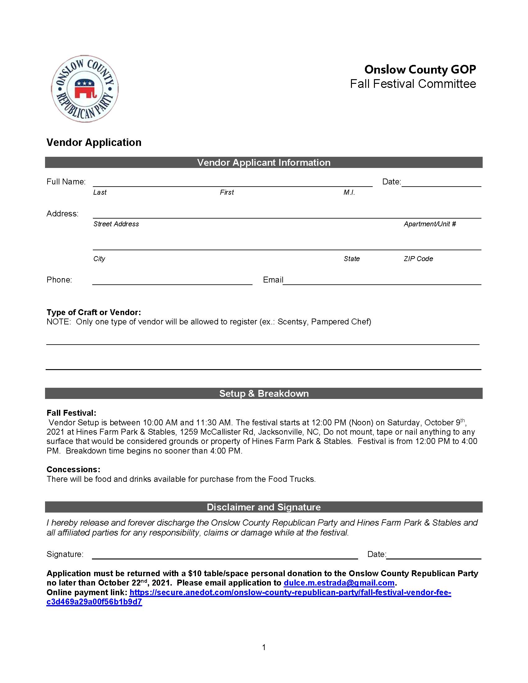 Onslow GOP Vendor Application