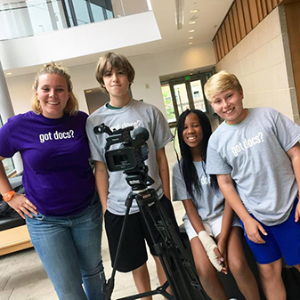 Image of teens participating in a Docs In Progress filmmaking workshop