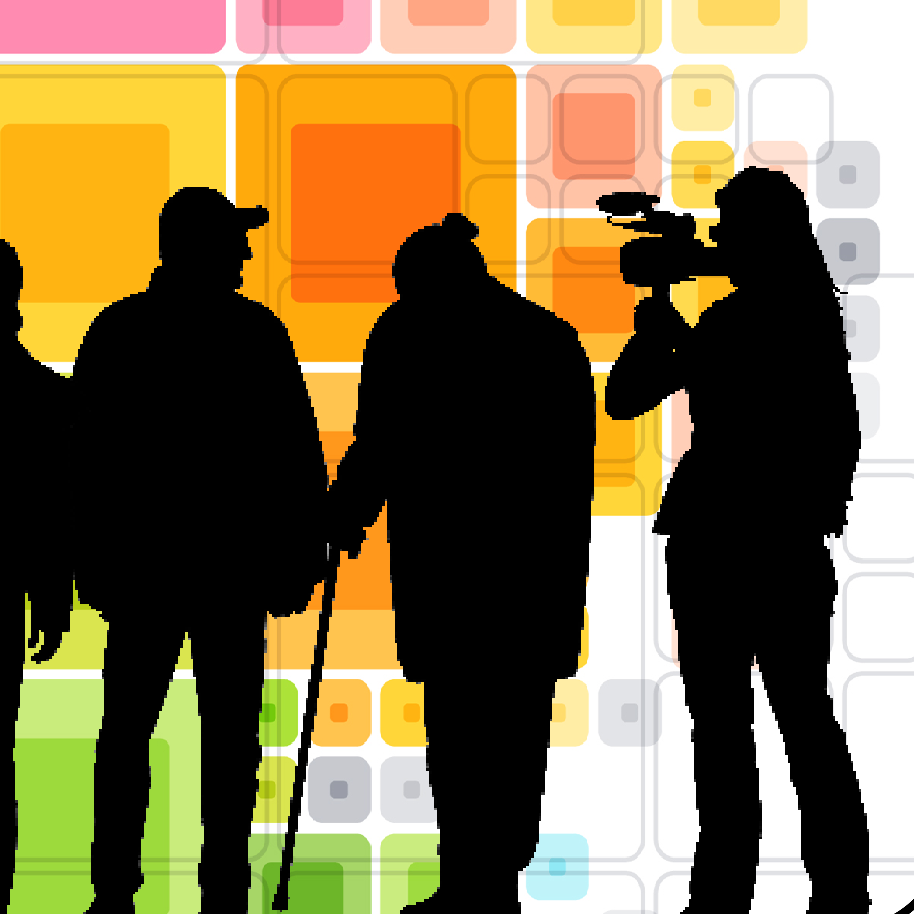 Silhouette of a filmmaker and subjects against a rainbow colored background