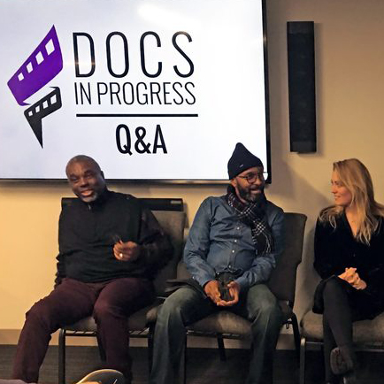 Image of filmmakers at a Docs In Progress Q&A following a Trailer Night Screeing