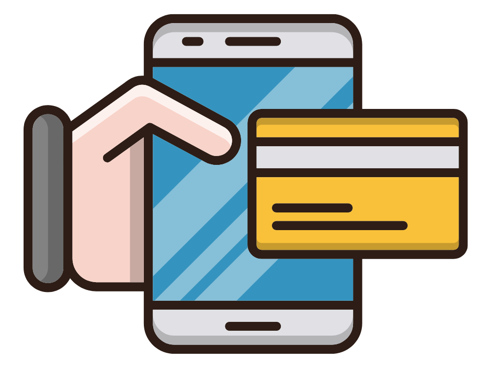 A graphic showing a hand holding a smartphone with a banking card on top of it.