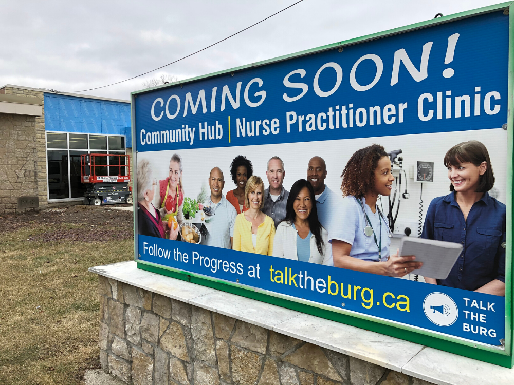 The sign outside the former St. Bernard School announcing the opening of the Essex County Nurse Practitioner Clinic