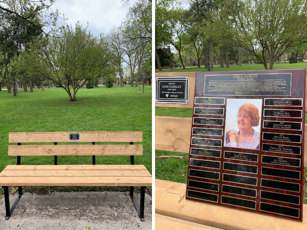 A bench has been placed in Jackson Park honouring nurses and another will be installed in Amherstburg
