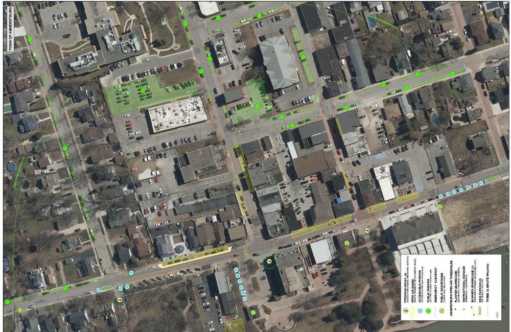 An aerial map showing parking spaces and the Open Air Zone in Amherstburg
