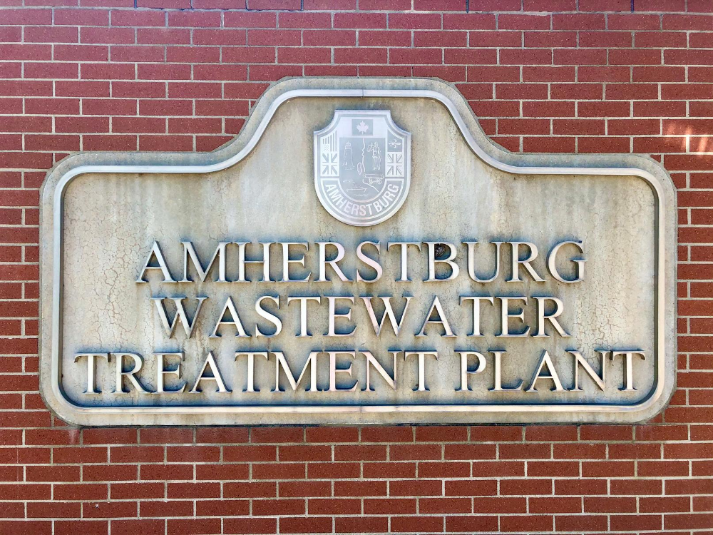 The sign outside Amherstburg's Wastewater Treatment Plant