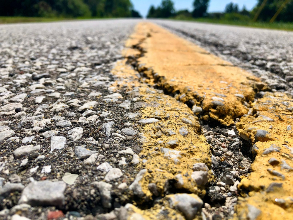 A close up of some cracks on Concession Road 4 North in Amherstburg