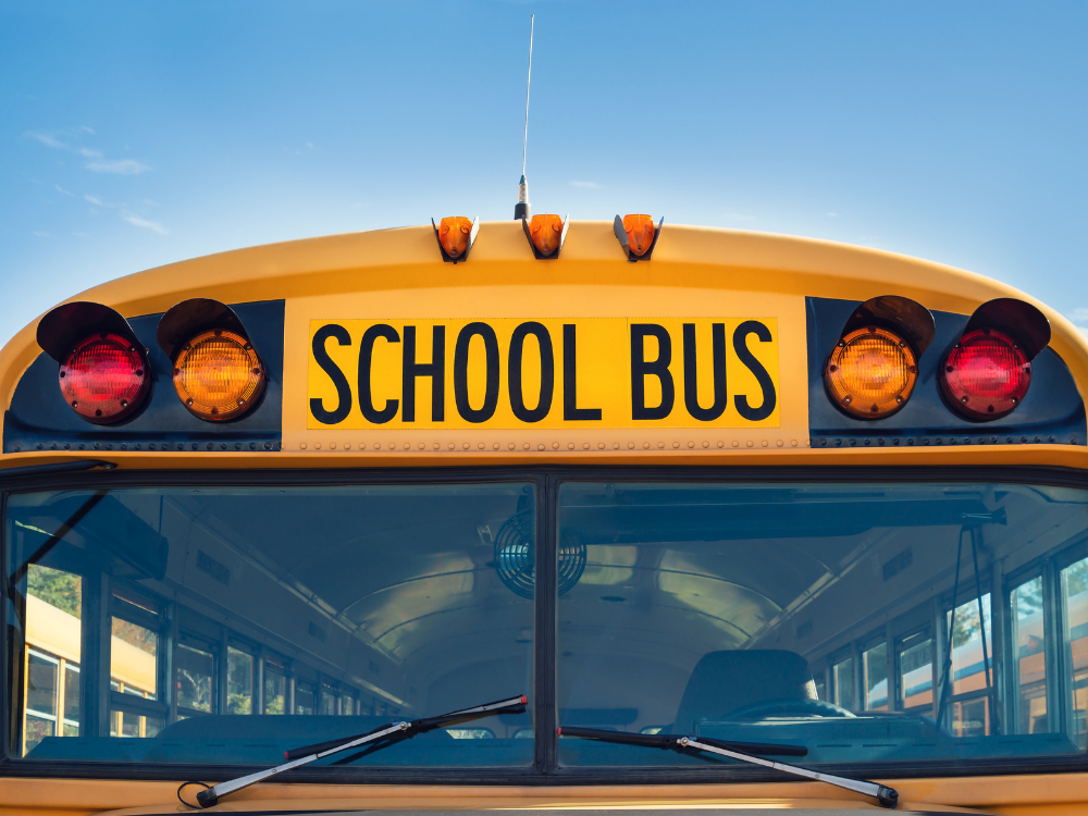 The front of a school bus