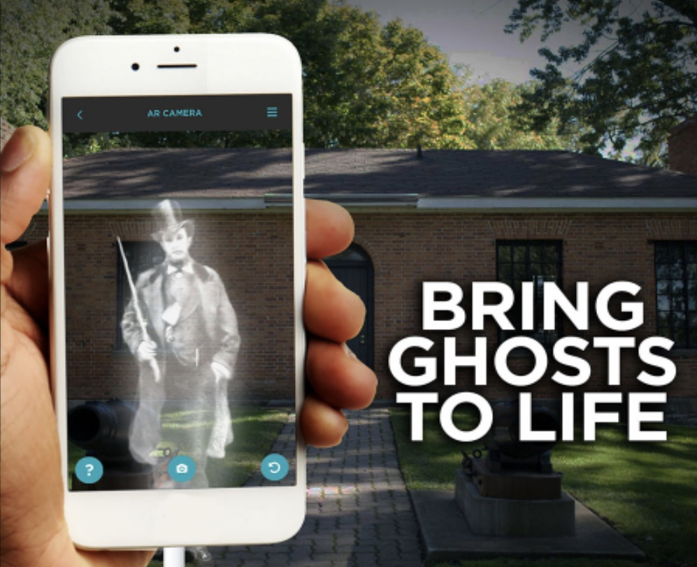 A ghost on a smartphone in King's Navy Yard Park