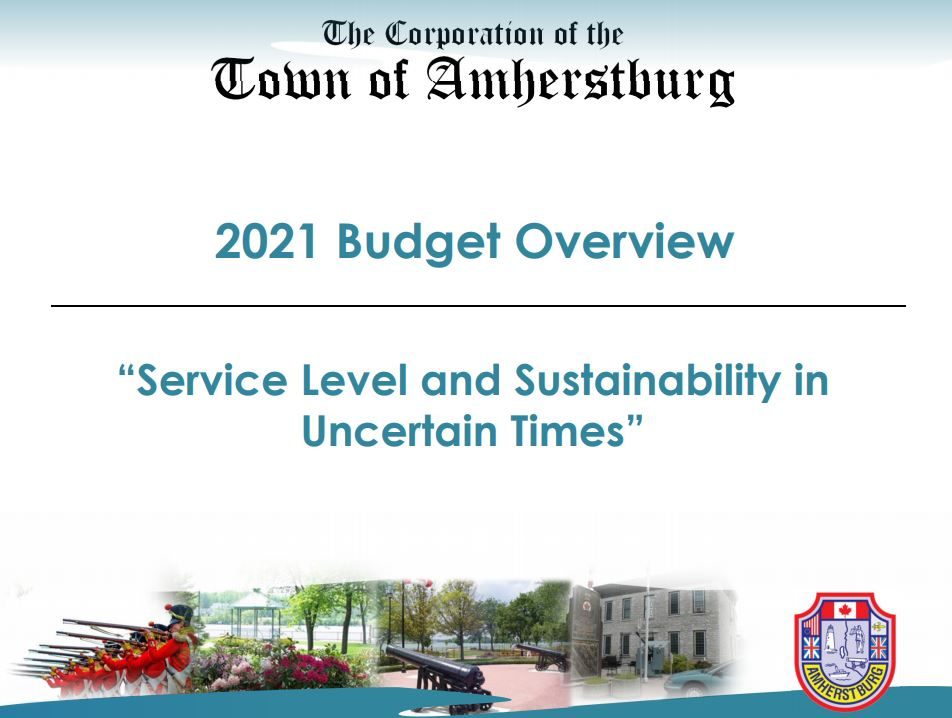 The cover page of Amherstburg's 2021 Budget