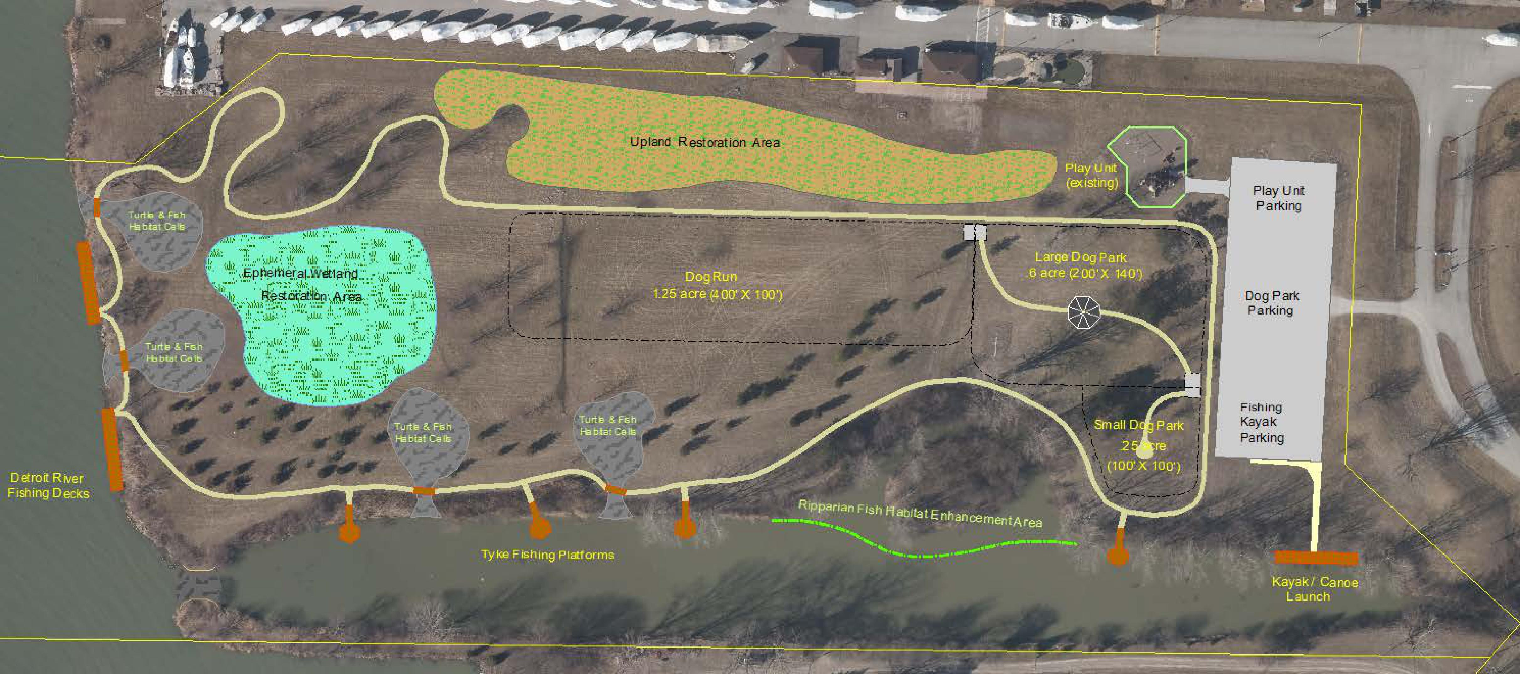 The proposed redesign of Ranta Park featuring an 800-metre walking trail, dog park, fishing decks and an accessible kayak and canoe launch.