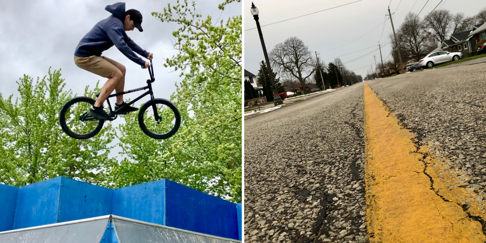 A two-picture collage showing a cycling catching major air at the skate part and a cracked yellow centre line on Fryer Street in Amherstburg.