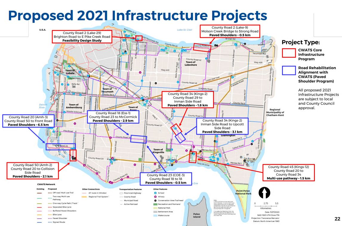 A map showing proposed CWATS projects for 2021