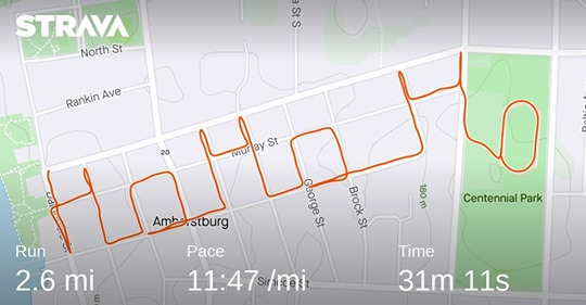 A Strava map in Amherstburg spells out the words Ho Ho Ho