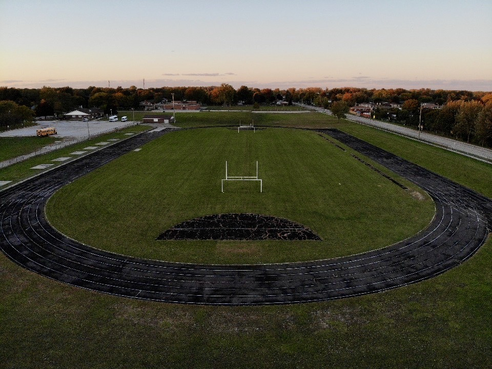 An aerial view of the S. Ralph McCurdy Track and Field Complex in Amherstburg