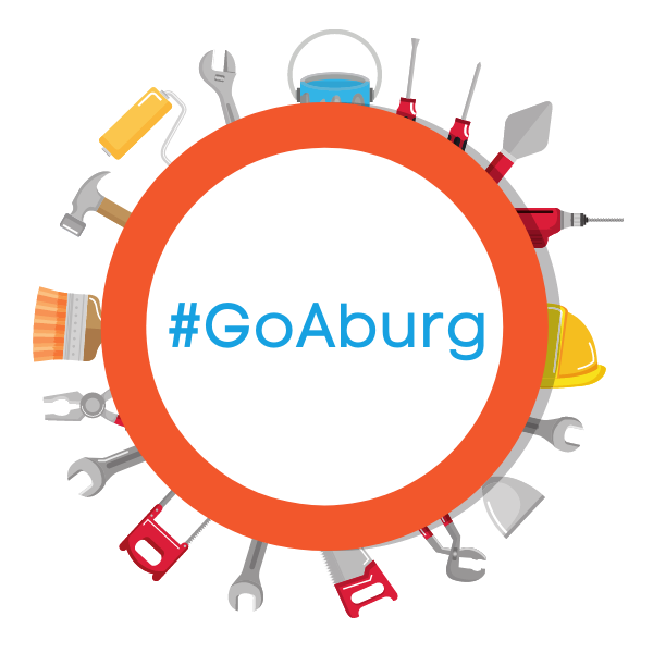 The words #GoAburg in a graphic circle of construction tools