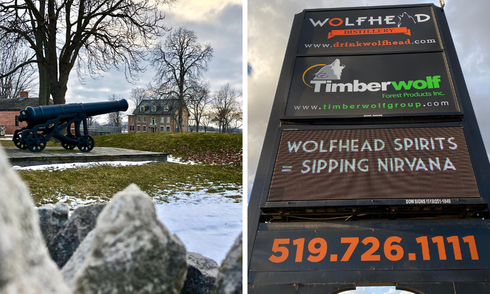 Fort Malden and the Wolfhead Distillery sign