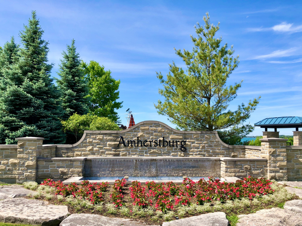 The stone Amherstburg sign on north side of Town