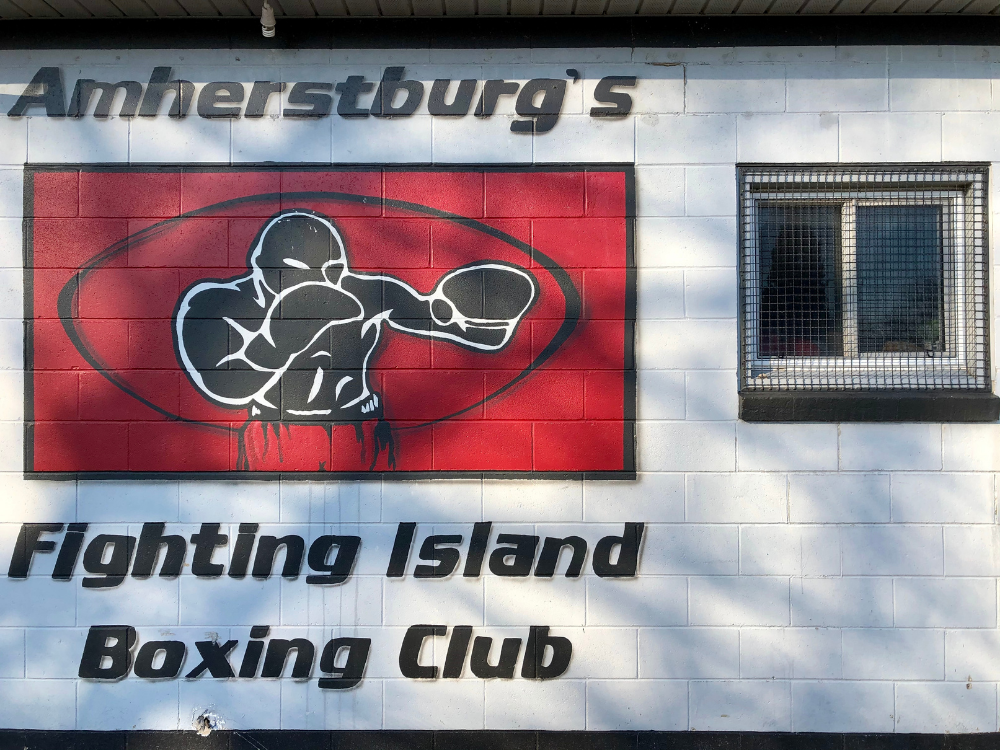 The exterior wall of the Fighting Island Boxing Club in Amherstburg