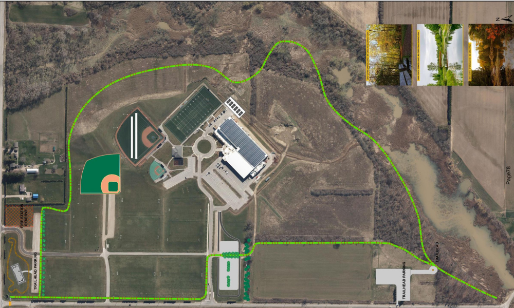 An aerial image showing the Big Creek Trail at the Libro Centre