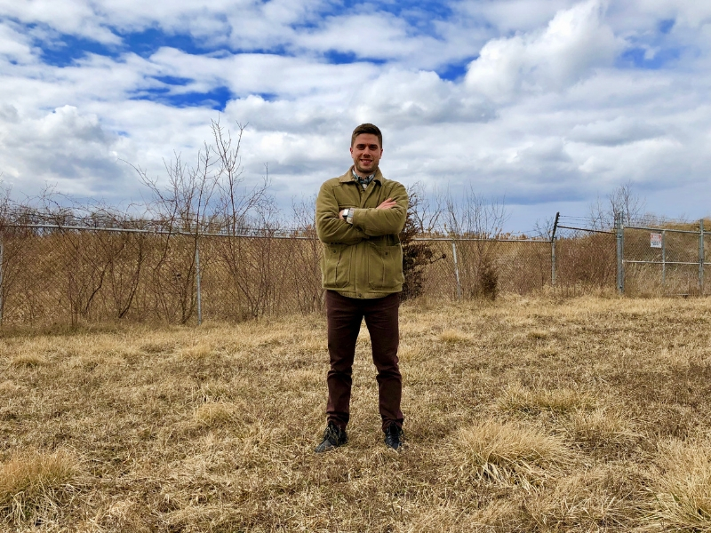 Brad Mailloux stands in front of the former General Chemical site in Amherstburg.