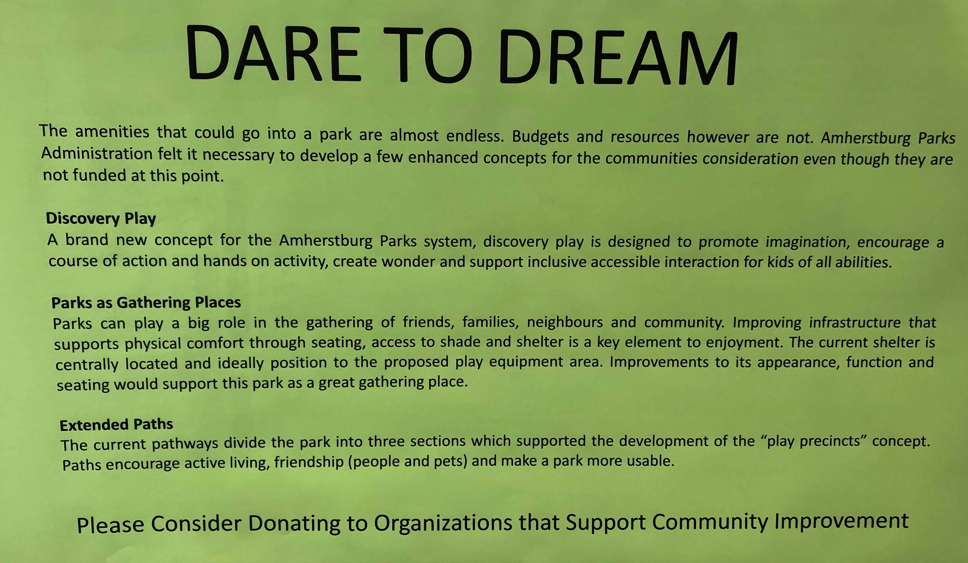 A story board encouraging residents to donate to community improvement groups.