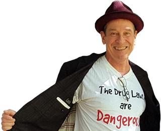 Greg Chipp wearing drugs are dangerous T-shirt