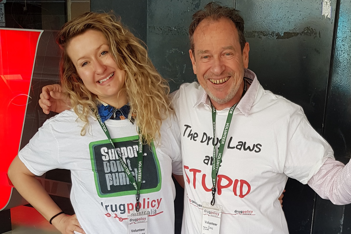 Greg Chipp with Hannah Hampson campaigning for Drug Policy Australia