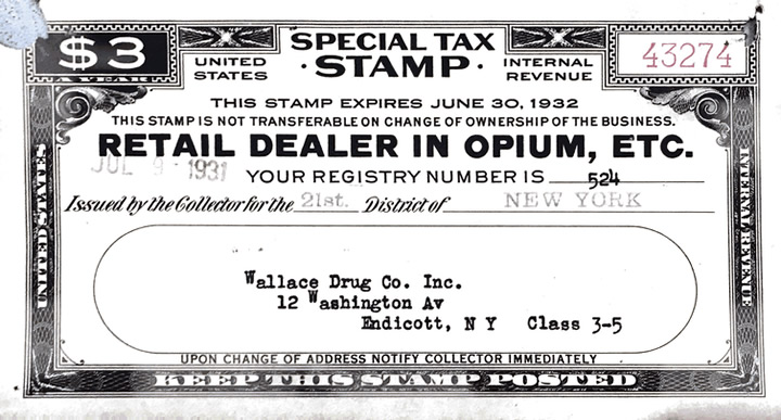 Opium special tax stamps were issued by the IRS in the United States