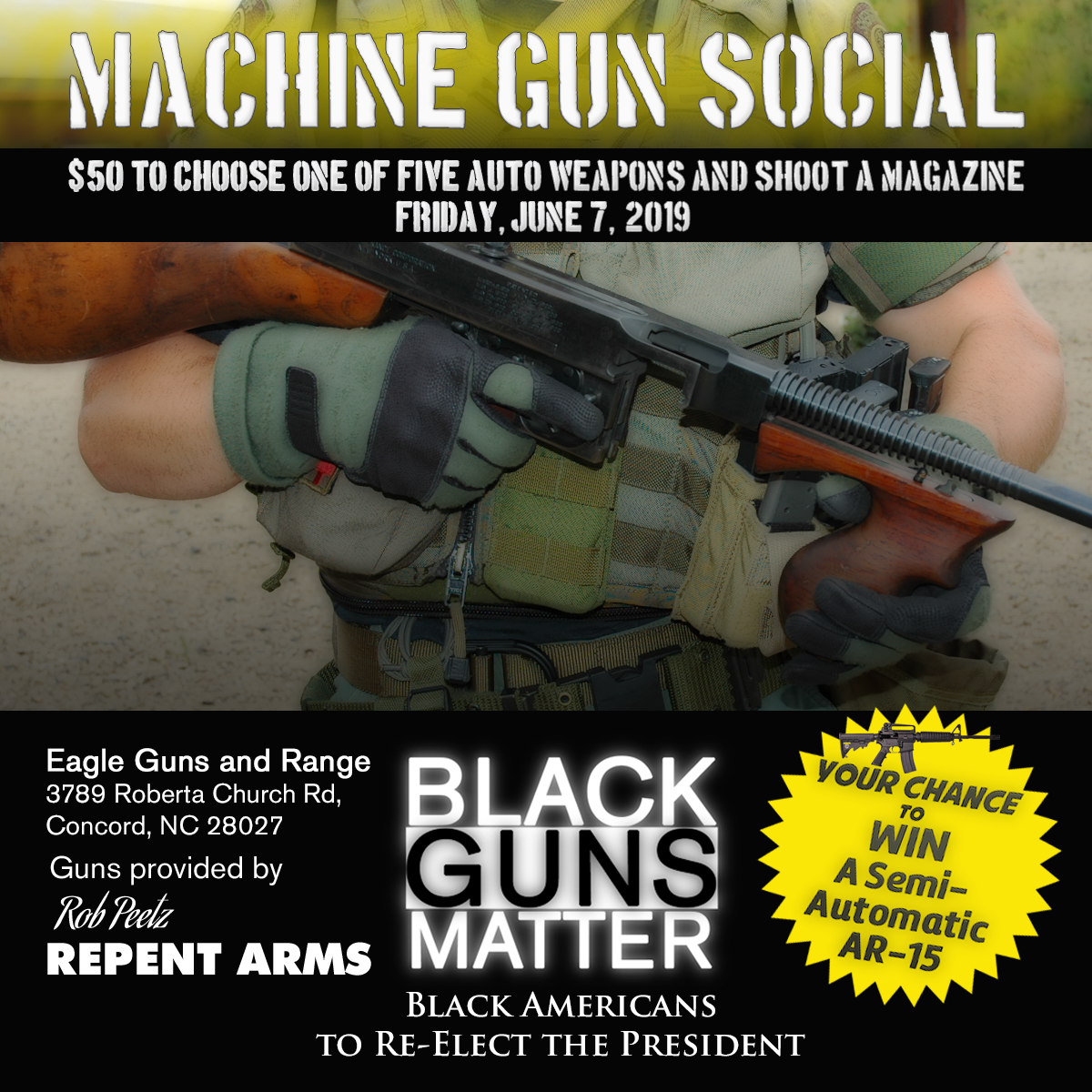 Image result for Black Americans to Re-Elect the President Machine Gun Social