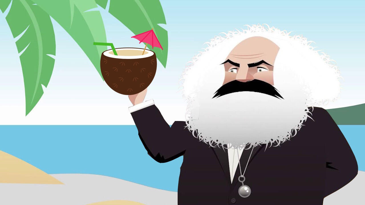 Cartoon Karl Marx enjoys a drink at the beach