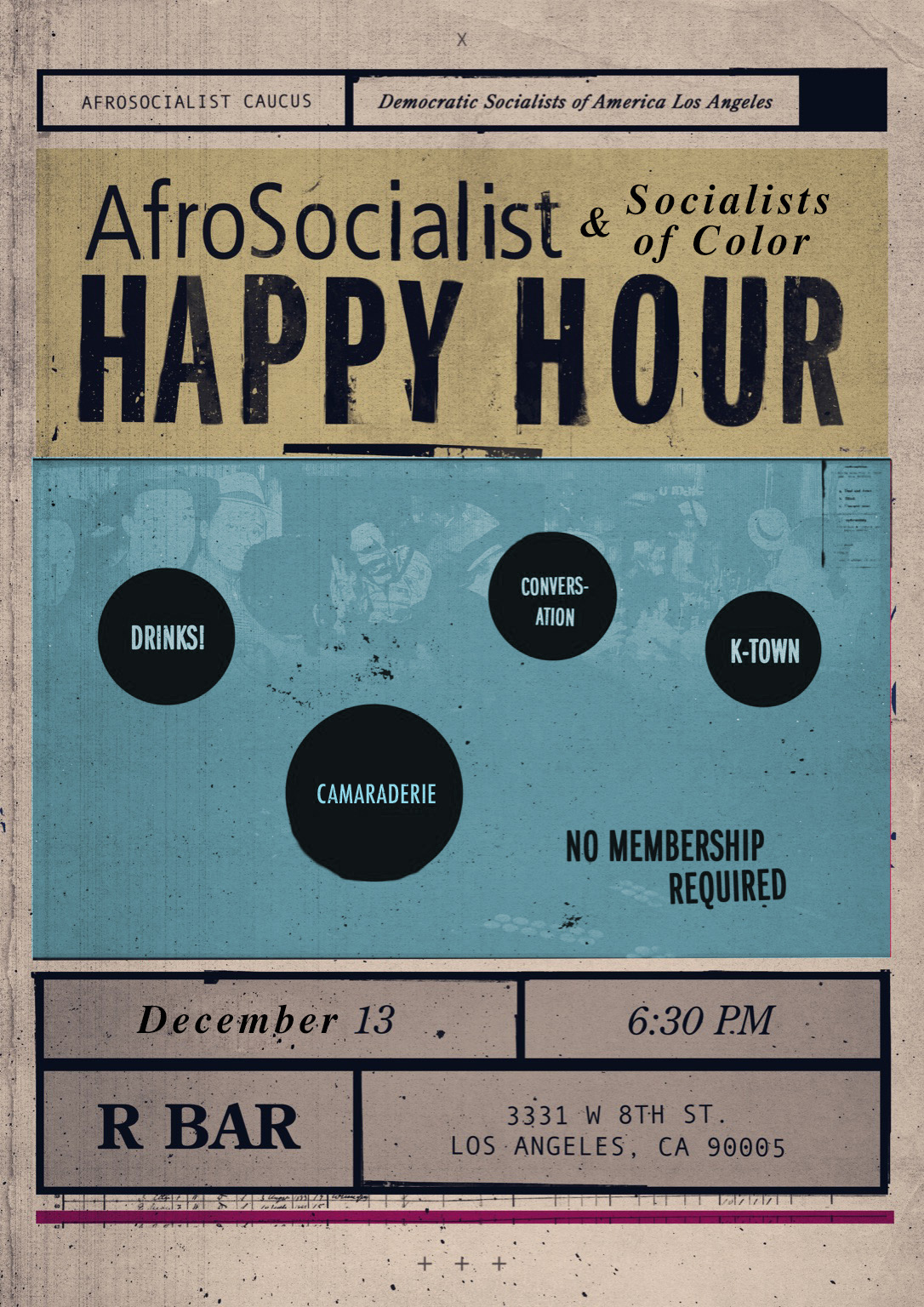 DSA-LA Afrosocialist & Socialists of Color December 13th Flyer