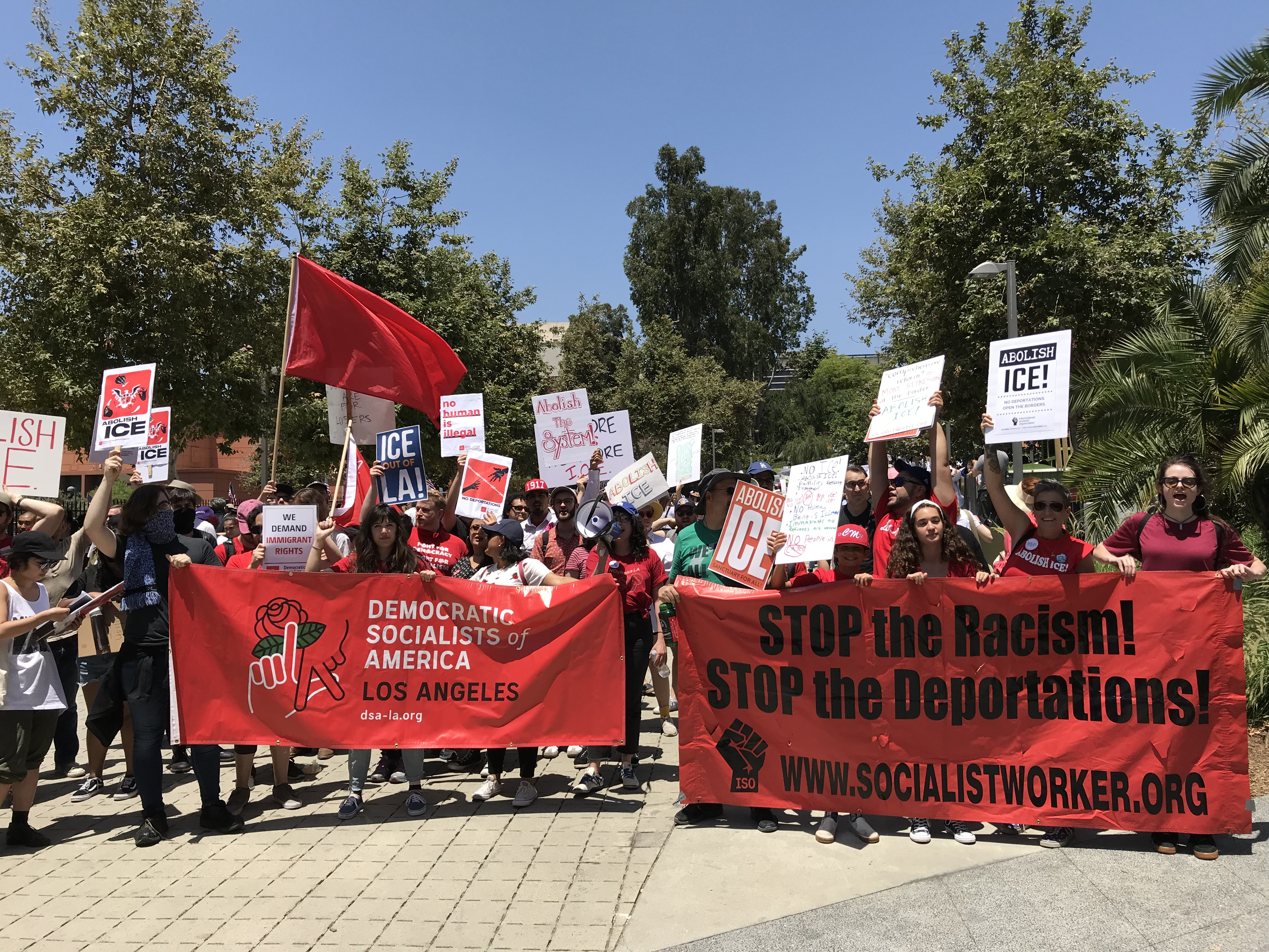 DSA Los Angeles joined several leftist groups from across Los Angeles to demand an end to ICE and the complicity of LAPD and Mayor Eric Garcetti in allowing ICE to terrorize our communities.