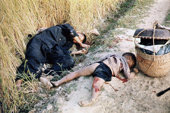 Photo taken by United States Army photographer Ronald L. Haeberle on March 16, 1968 in the aftermath of the My Lai massacre showing mostly women and children dead on a road. The photo is copied and used in many places which mention the massacre.