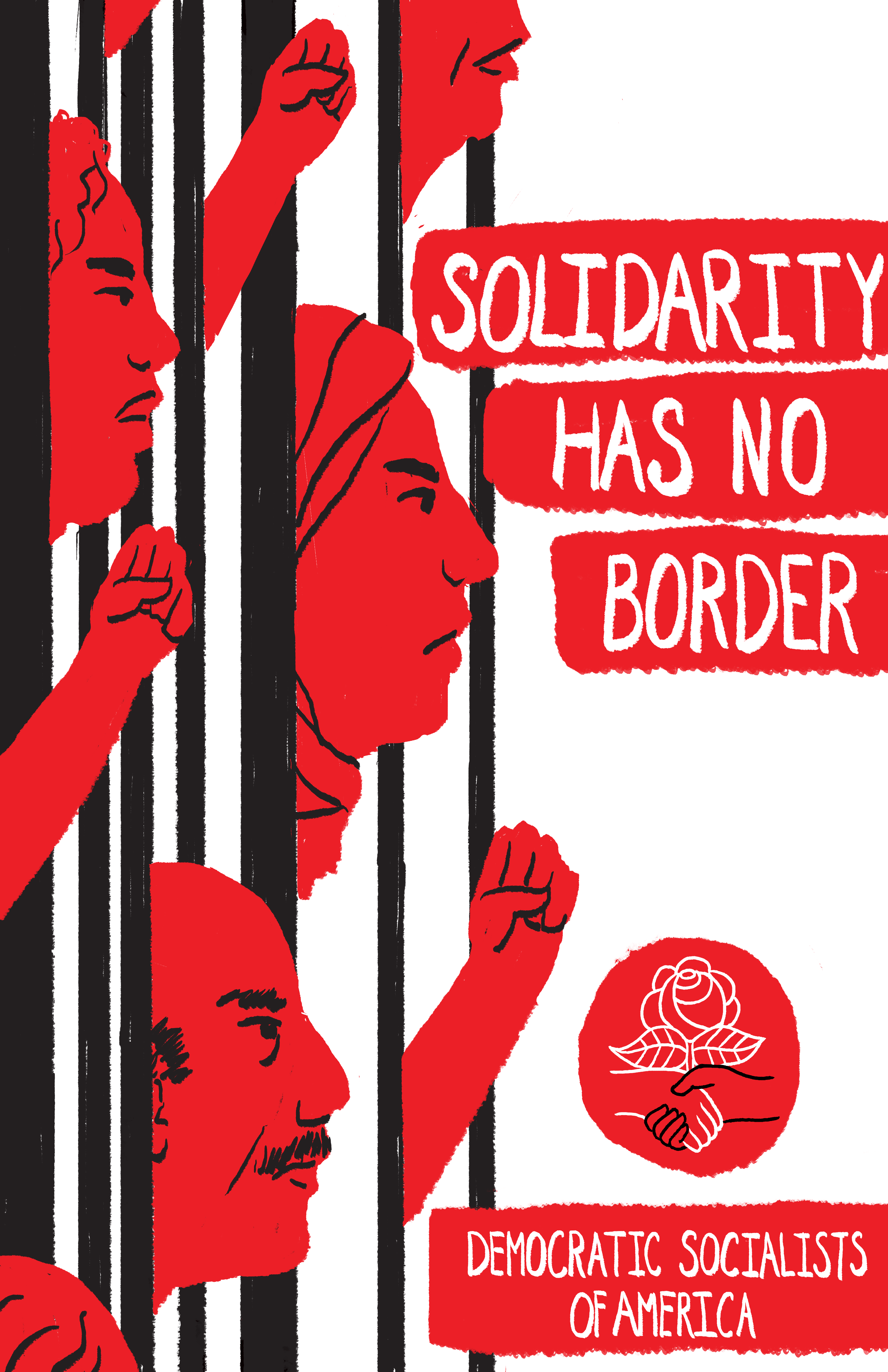 Graphic of people pushing through bars, including a woman in a headscarf. Text reads \