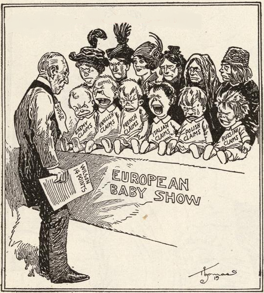 Cartoon showing Wilson and Europe after WWII