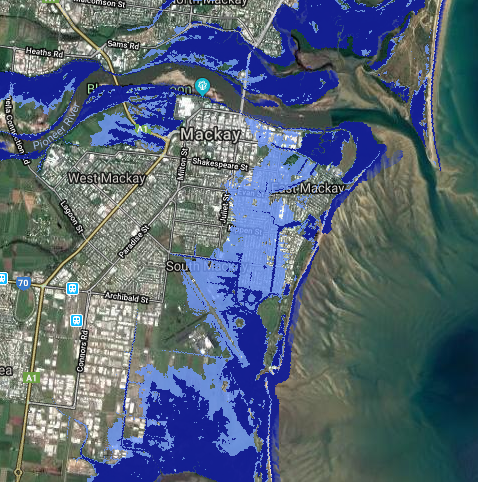 Map of predicted sea level rise in Mackay 2100 where the light blue is the 2100 tide height and dark blue is the current high tide height.