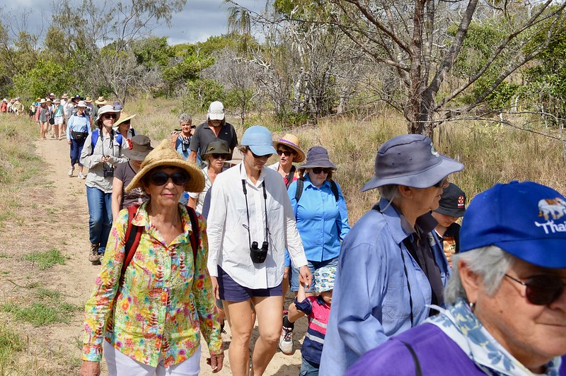 Mackay Conservation Group members and supporters walking to Shellgrit Creek