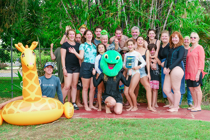 Image: A group of Mackay Conservation Group members and supporters wearing pink noses at the 2021 Swim For Our Rivers event