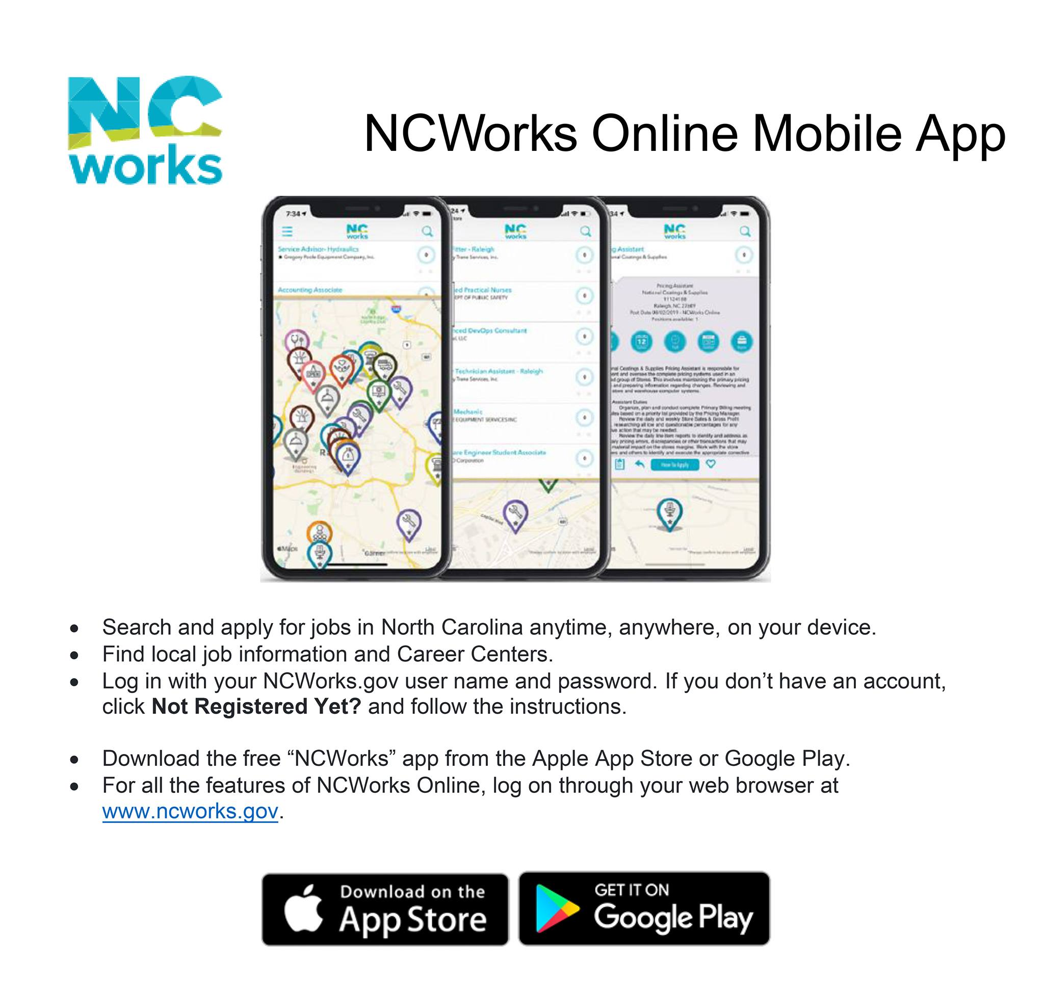 Informational graphic with text about NC Works App