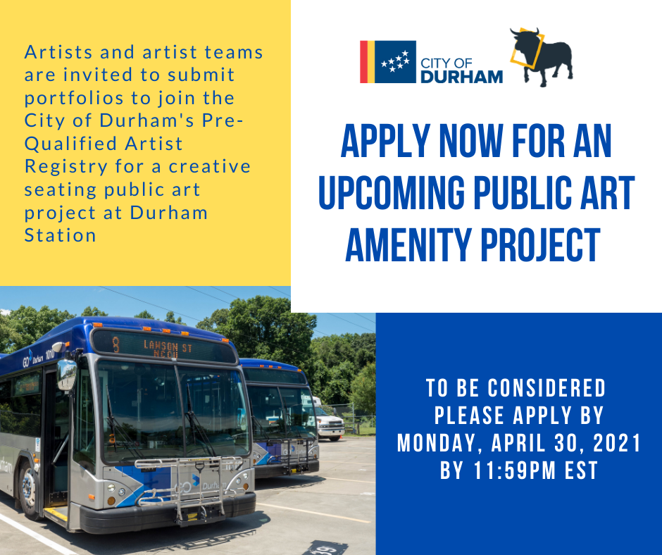 Durham Station Public Art graphic with text - Apply by Monday April 30