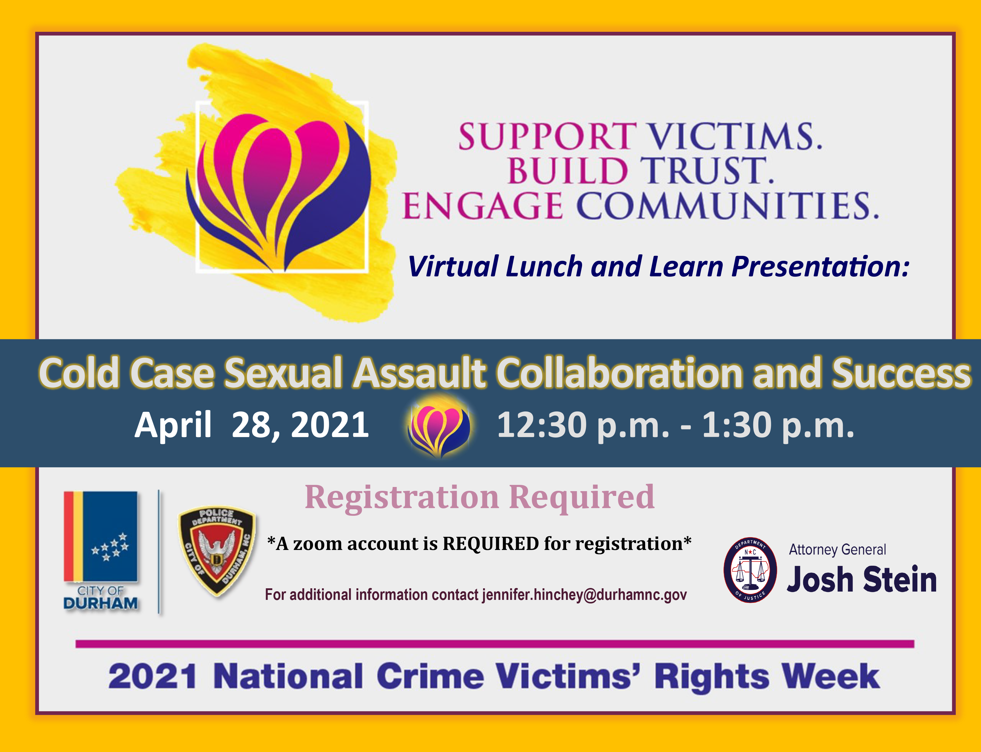 Graphic with details for National Crime Victims Rights Week event