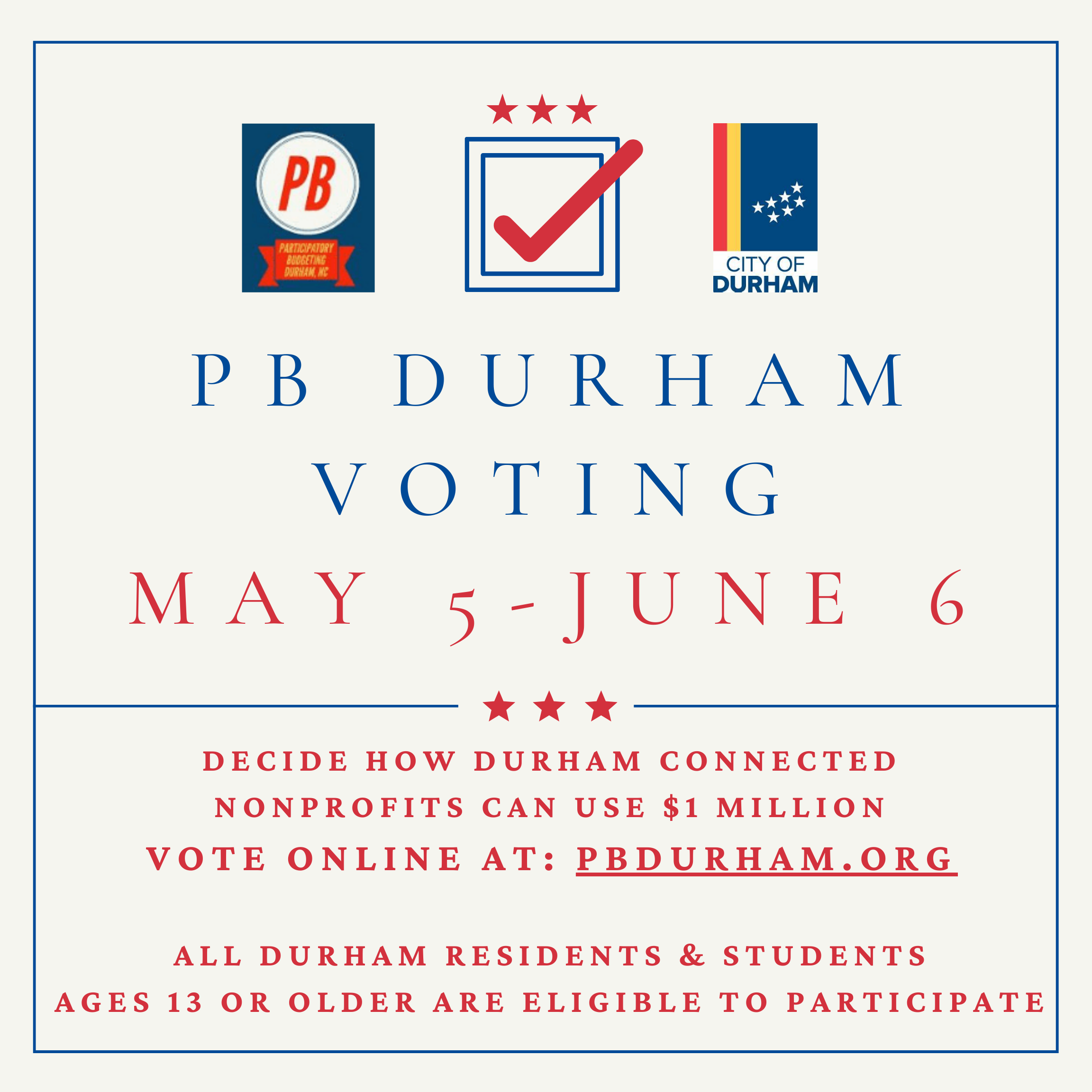 Vote for which nonprofits should receive up to $50,000 for COVID-19 response - pbdurham.org. Closes June 6