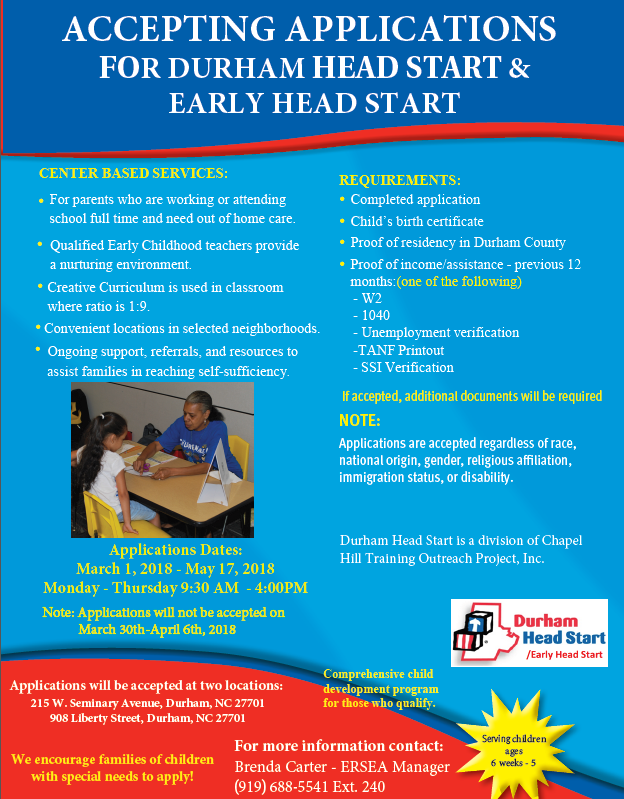 Accepting Applications for Durham Head Start and Early Head