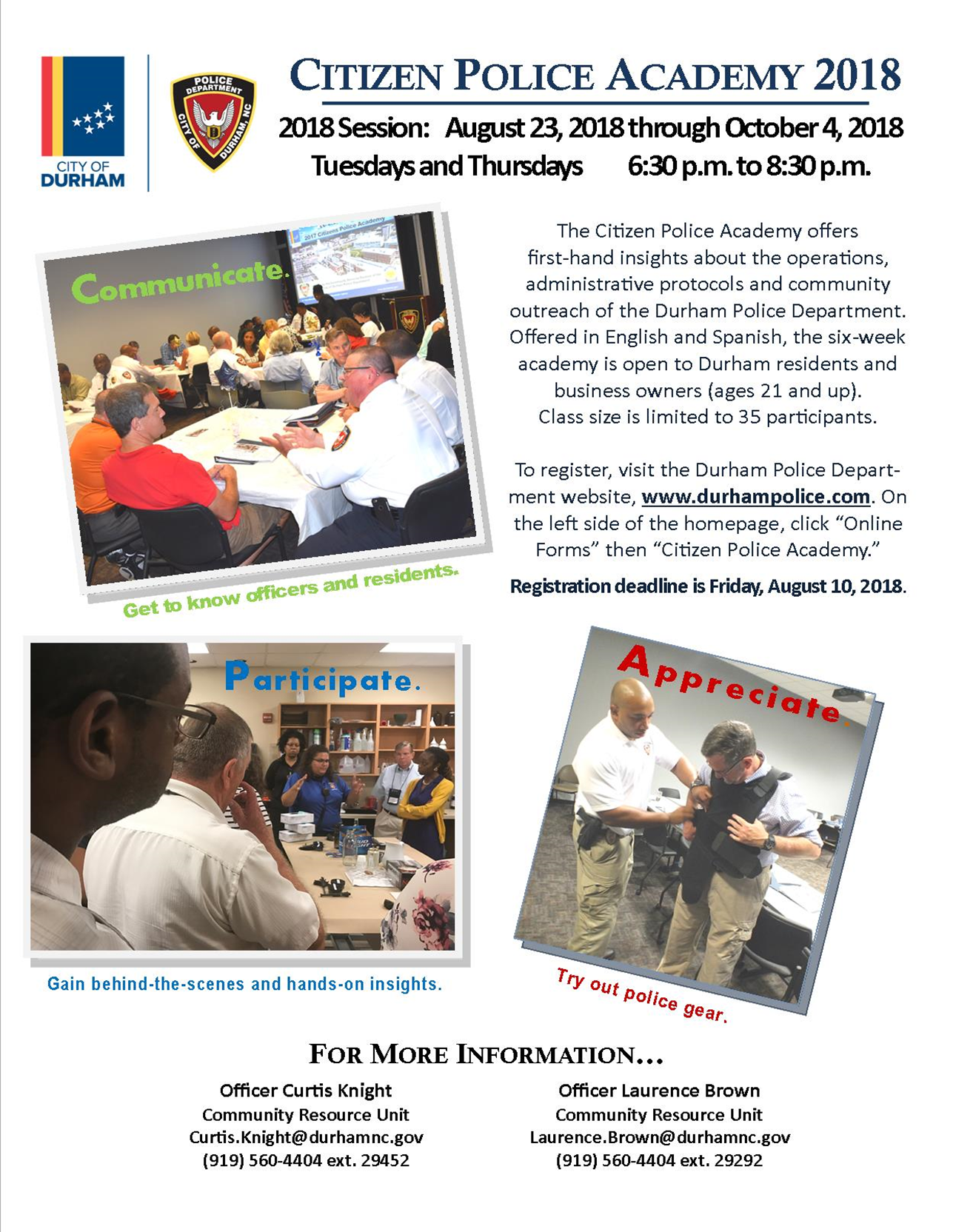 Citizen Police Academy 2018 City Of Durham Nis Community Engagement