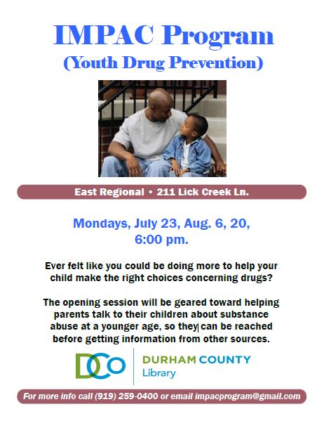 Impac Program Youth Drug Prevention City Of Durham Nis Community