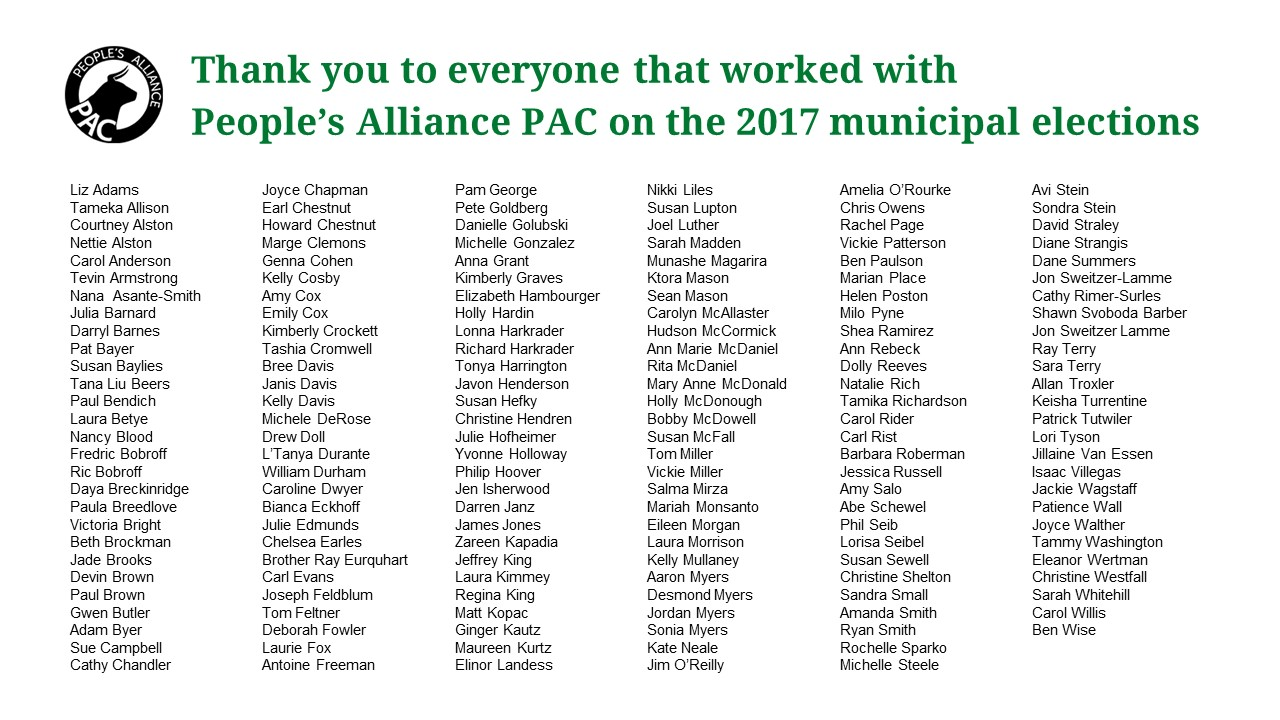 2017 Municipal Election At People S Alliance Pac
