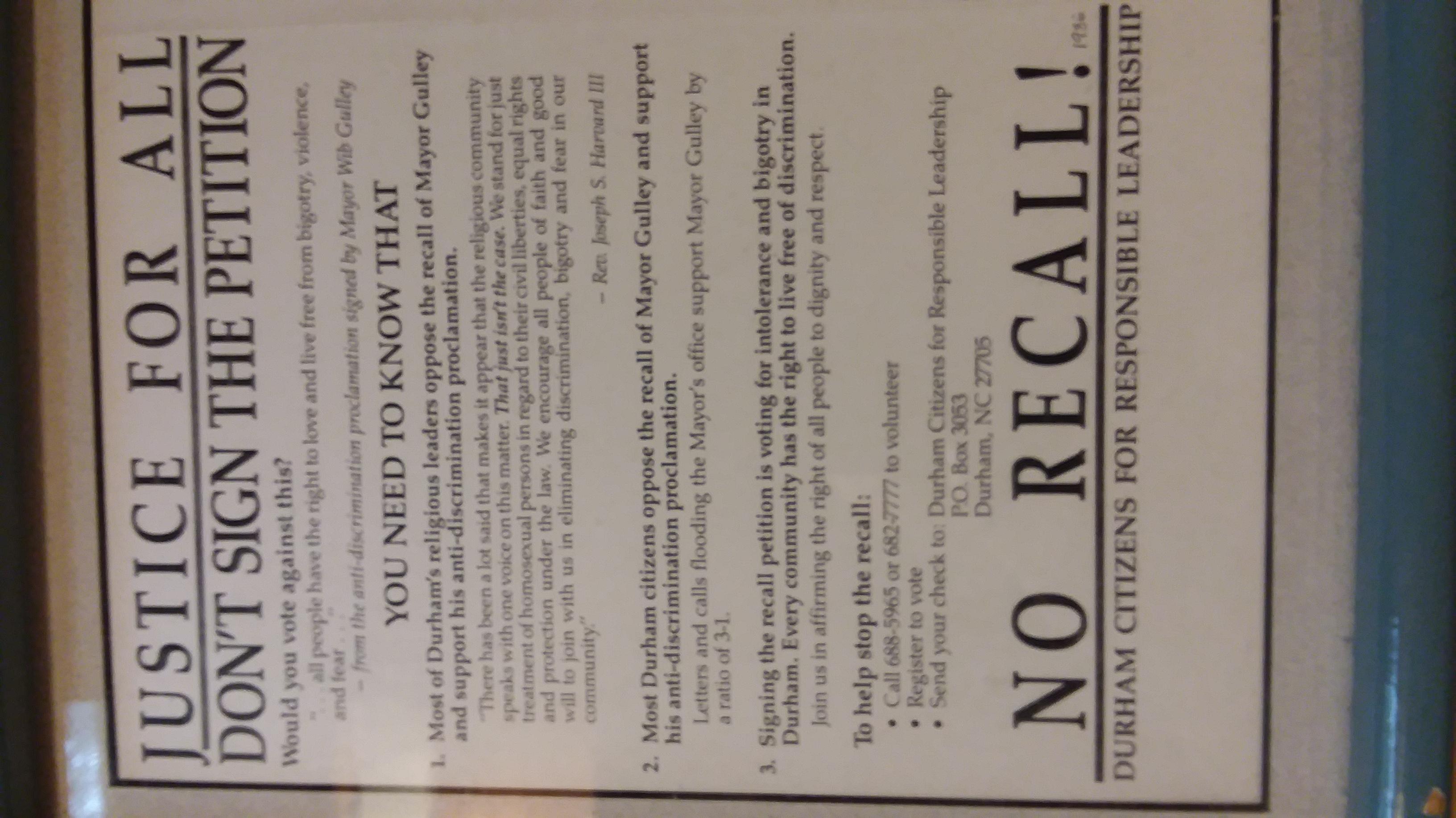 Durham Recall Flyer