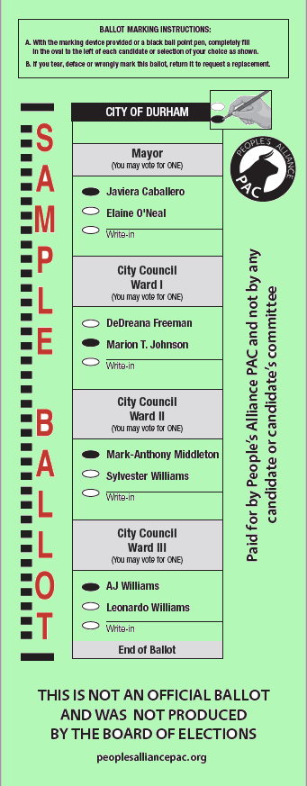 Green PA PAC ballot 2021 General Election showing the circles for Javiera Caballero filled in for Mayor, Marion T Jobnson for City Council Ward One, Mark-Anthony Middleton for CIty Council Ward Two, and AJ Wlliams for City Council Ward Three