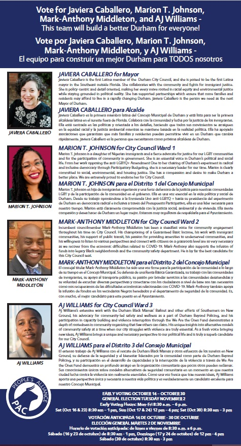 Front side of PA PAC mailer for fall 2021 General Election showing photos of and text regarding endorsed candidates Caballero, Johnson, Middleton, and AJ Willaims