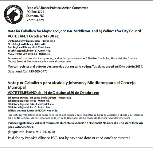 Back of PA PAC mailer for 2021 General Election with information about when and where to vote
